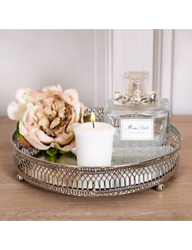 Silver Mirrored Tray Ornate Wedding Table Centre Candle Plate Chic Gift Home by Ebay Seller