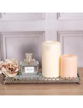 Rectangular Mirrored Ornate Tray Silver Wedding Table Center Candle Plate Home by Ebay Seller