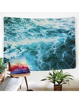 """Sunm Boutique Wall Tapestry Blue Ocean Wave Tapestry Sea Wall Hanging Tapestry Wall Art Decor Tablecloth (Spray,51.2""""X59.1"""") by Sunm Boutique"""