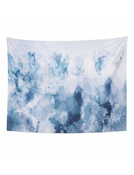 Emvency Tapestries Print 60x80 Inches Cold Abstract Watercolor In Blue Silver Gray Tone Digital Painting Cool Wall Hangings Home Decor by Emvency
