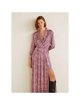 Mango   Pink Floral Print Satin 'zoe' Long Sleeve Maxi Dress by Mango