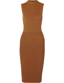 Cotton Blend Waffle Knit Midi Dress by Victoria Beckham