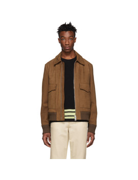 Brown Leather Lazlo Jacket by Acne Studios