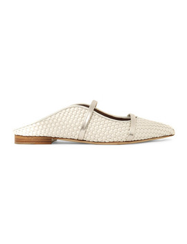 + Emanuel Ungaro Maureen Metallic Leather Trimmed Woven Satin Point Toe Flats by Malone Souliers