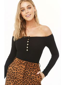 Ribbed Button Front Bardot Bodysuit by Forever 21