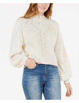 Juniors' Mixed Stitch Balloon Sleeve Sweater, Created For Macy's by American Rag