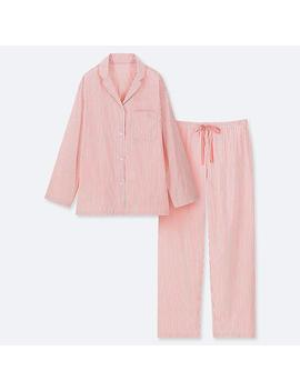 Women Soft Stretch Striped Long Sleeved Pyjamas by Uniqlo