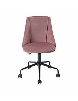 Homy Casa Ergonomic Desk Chair Adjustable Swivel Office Chair Velvet Armless Computer Task Chair,Rose by Homy Casa
