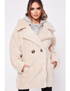 Hayley Stone Button Teddy Coat by Misspap