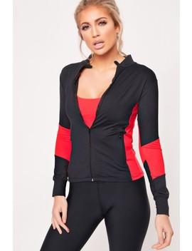 Jada Black Red Long Sleeve Zip Jacket by Misspap