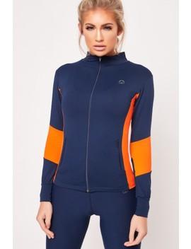 Jada Navy Orange Long Sleeve Zip Jacket by Misspap