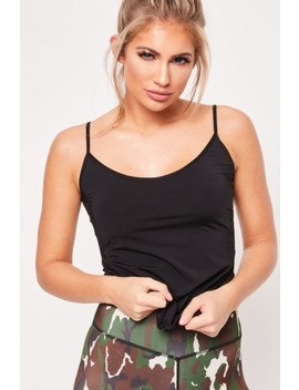 Harriet Black Strappy Back Gym Top by Misspap