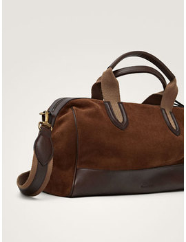 Contrast Split Suede/Nappa Bowling Bag by Massimo Dutti