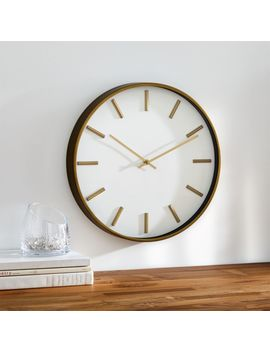 "Rix Brass 14"" Wall Clock by Crate&Barrel"