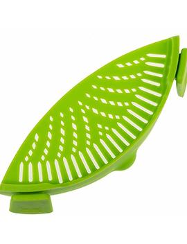 """Fsdualwin Kitchen Pan Strainer Snap'n Strain, Clip On Silicone Strainer Colander Fits All Size Pots(9"""" * 3.2""""), Pans, Bowls   Strain For Pasta, Noodles, Vegetables, Potatoes(1 Pack) Green by Amazon"""