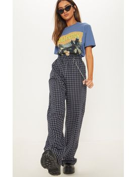 Navy Check Wide Leg Pants by Prettylittlething