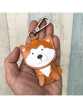 Small Size   Aki The Japanese Akita Vegetable Tanned Leather Charm With Lobster Clasps ( Brown / Beige ) by Etsy
