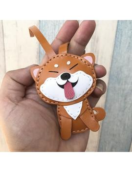 Small Size   Flora The Shiba Inu Vegetable Tanned Leather Bag Charm  ( Brown / White ) by Etsy