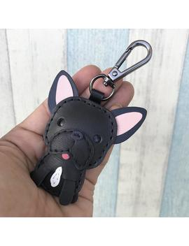 Small Size   Sam The French Bulldog Cowhide Leather Charm With Black Lobster Clasps Version ( Black ) by Etsy
