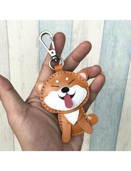 Small Size   Flora The Shiba Inu Vegetable Tanned Leather Charm With Lobster Clasps ( Brown / Beige ) by Etsy