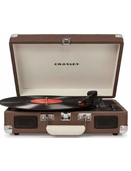 Crosley Cruiser Deluxe Vintage 3 Speed Bluetooth Suitcase Turntable, Tweed by Crosley