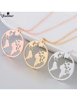 Yiustar New Trendy World Map Necklace For Women Origami Round Necklaces & Pendants Fancy Fine Geometric Jewelry Girls Necklace by Yiustar