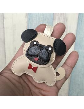 Ready Stock   Small Size   Bobby The Pug Cowhide Leather Charm ( Beige ) by Etsy