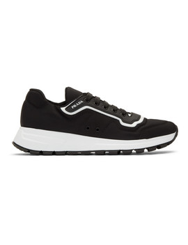 Black & White Gabardine Soft Sneakers by Prada
