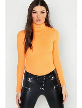 Soft Knit Rib Knit Turtle Neck Top by Boohoo