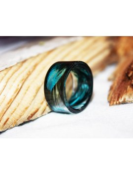 Blue Real Feather Ring, Inspirational Jewelry Romantic Ring Gift, Nature Inspired Ring Resin Jewelry, Promise Ring For Her, Gift For Women by Etsy