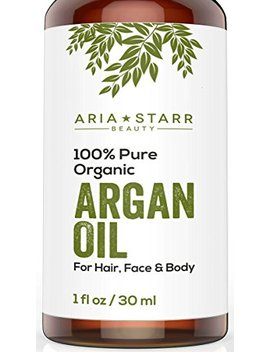 Aria Starr Beauty Organic Argan Oil For Hair, Skin, Face, Nails, Beard & Cuticles   Best 100 Percents Pure Moroccan Anti Aging, Anti Wrinkle Beauty Secret, Cold Pressed Moisturizer 1oz by Aria Starr Beauty