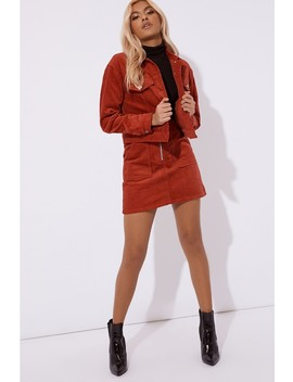 Naiomi Rust Cord Trucker Jacket by In The Style