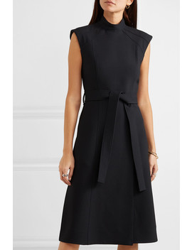 Belted Wool And Silk Blend Midi Dress by Burberry
