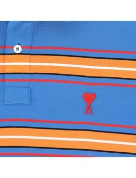 Col Boutonne Polo Shirt Blue by Ami Alexandre Mattiussi