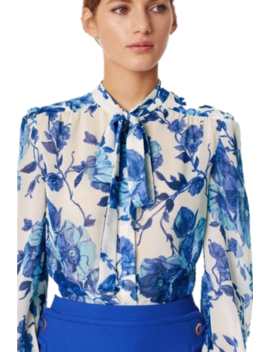 Nwt Tory Burch Kia Long Sleeve Lili Floral Silk Bow Blouse Size 6 Original $298 by Tory Burch