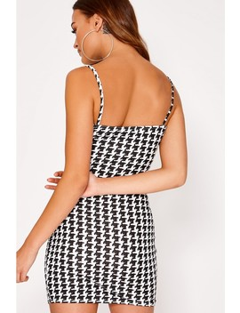 Eilah Black Gingham Jersey Square Neck Bodycon Dress by In The Style