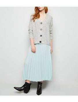 Grey Rib Knit Button Through Cardigan by New Look