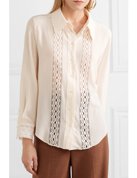 Pussy Bow Lace Trimmed Silk Crepe De Chine Blouse by Chloé