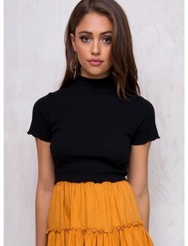 Minkpink Black Delicate Lettuce Edge Crop Top by Minkpink