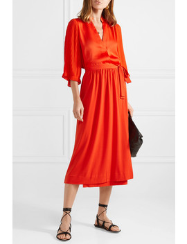 Sanah Pleated Crepe And Georgette Blouse by By Malene Birger