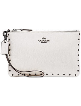 Border Rivets Wristlet In Polished Pebble Leather by Coach