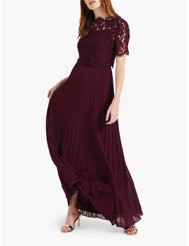 Phase Eight Elisabetta Lace Overlay Maxi Bridesmaid Dress, Berry by Phase Eight