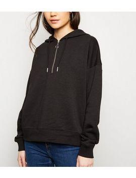 Black Half Zip Hoodie by New Look