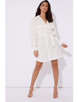 Shaylah White Button Down Tie Waist Shirt Dress by In The Style