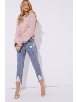 Adira Blush V Neck Oversized Ribbed Jumper by In The Style