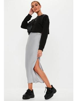 Grey Satin Slip Midi Skirt by Missguided