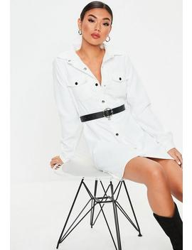 White Cord Skater Shirt Dress by Missguided