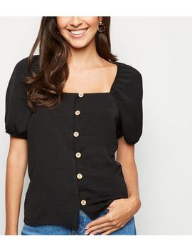 Black Square Neck Button Up Top by New Look