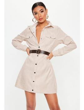 Stone Cord Skater Shirt Dress by Missguided