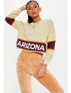 Cream Arizona Colour Block Crop Sweatshirt by Missguided